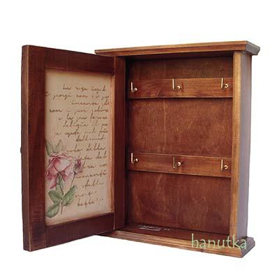 drewniana szafka na klucze decoupage